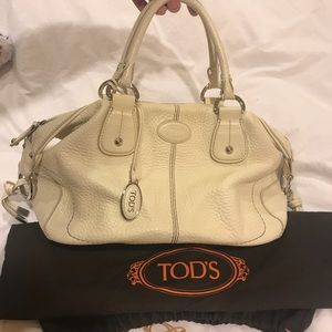 Cream Tod's Leather Handbag Satchel Made In Italy